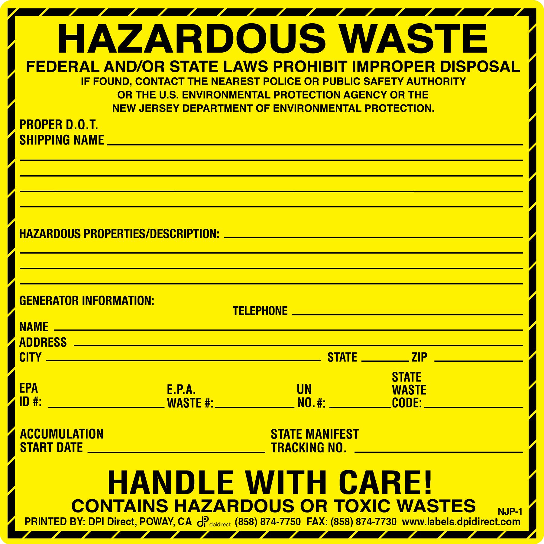 Hazardous Waste Label Template Resume health and wellness director ...